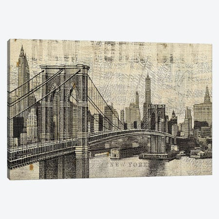 Vintage NY Brooklyn Bridge Skyline  Canvas Print #WAC1005} by Michael Mullan Canvas Artwork