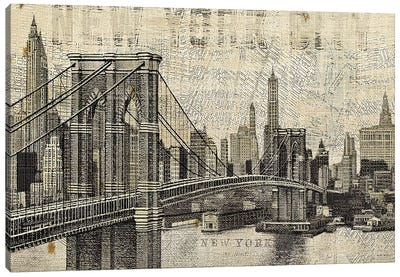 Vintage NY Brooklyn Bridge Skyline  Canvas Art Print