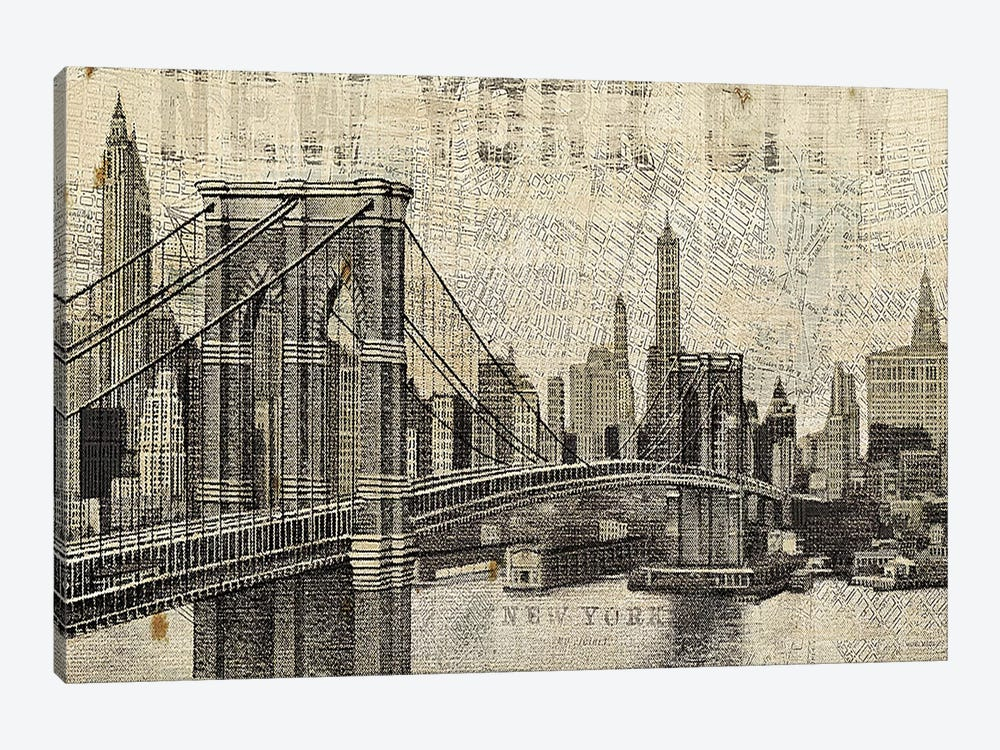 Vintage NY Brooklyn Bridge Skyline by Michael Mullan 1-piece Canvas Print