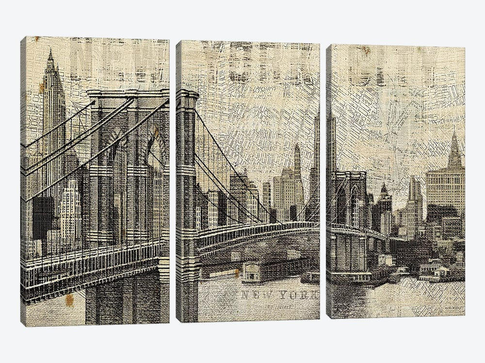 Vintage NY Brooklyn Bridge Skyline by Michael Mullan 3-piece Canvas Art Print
