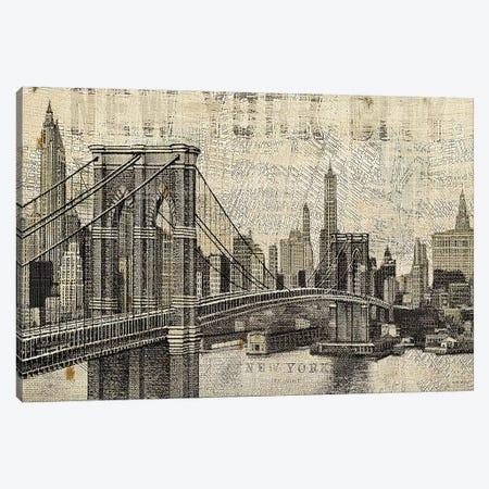Vintage NY Brooklyn Bridge Skyline  Canvas Print #WAC1005} by Michael Mullan Canvas Artwork