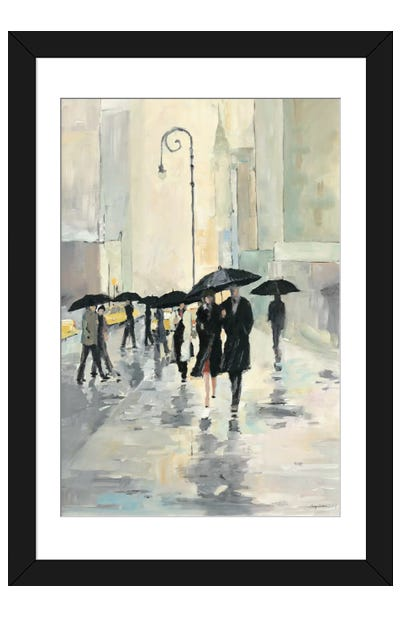 City in the Rain Framed Art Print