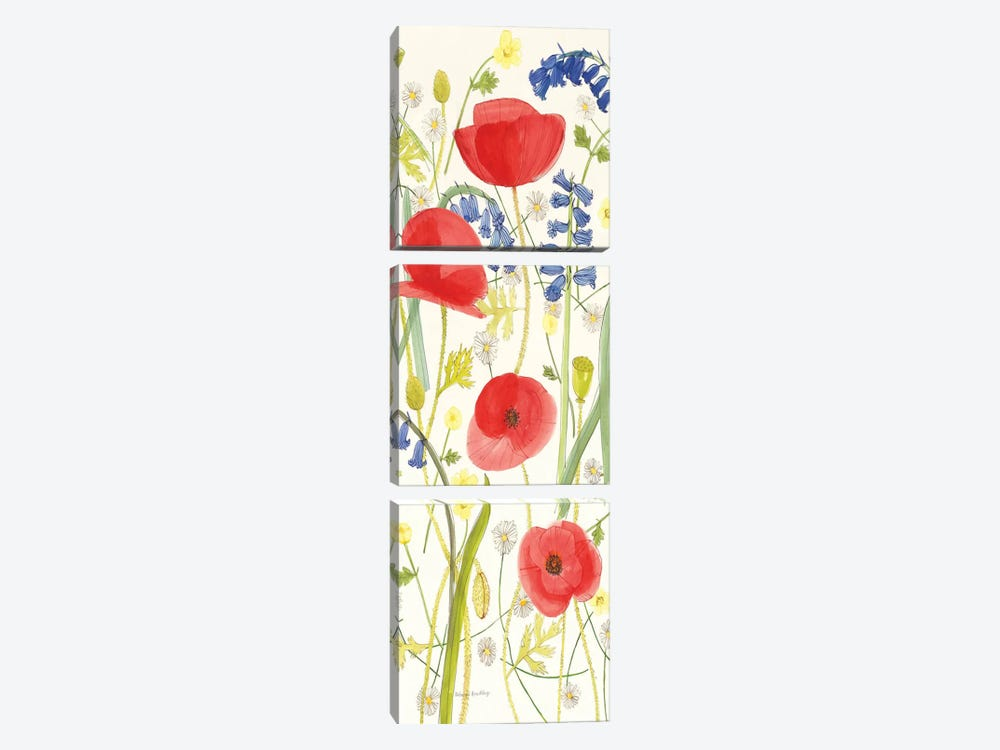 Meadow Poppies III by Rebecca Bradley 3-piece Canvas Artwork