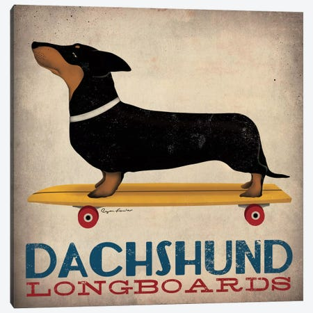 Dachshund Longboards  Canvas Print #WAC1123} by Ryan Fowler Canvas Artwork