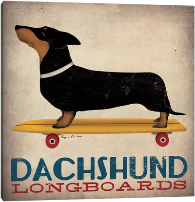 Dachshund Longboards  Canvas Art Print