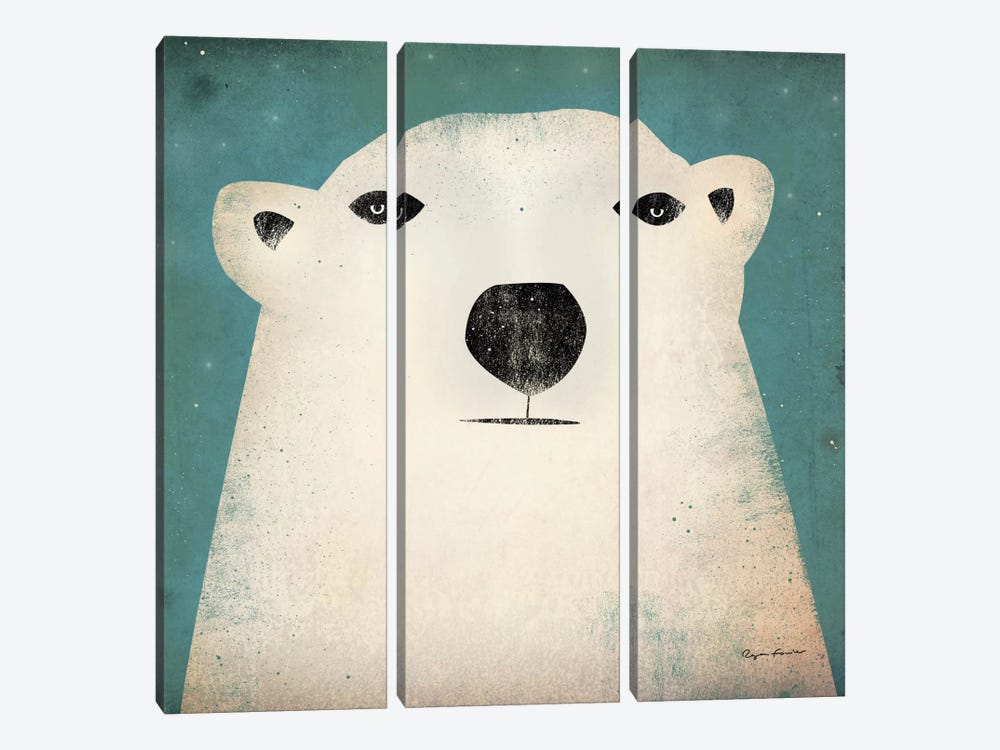 Polar Bear  by Ryan Fowler 3-piece Canvas Wall Art