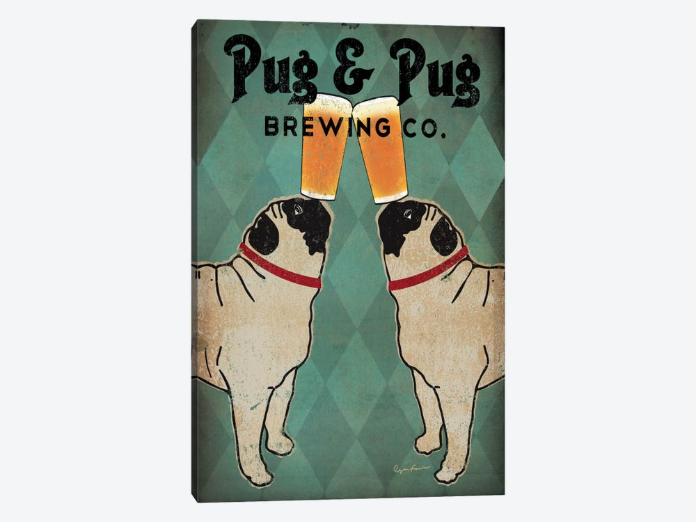 Pug & Pug Brewing Co. by Ryan Fowler 1-piece Canvas Artwork