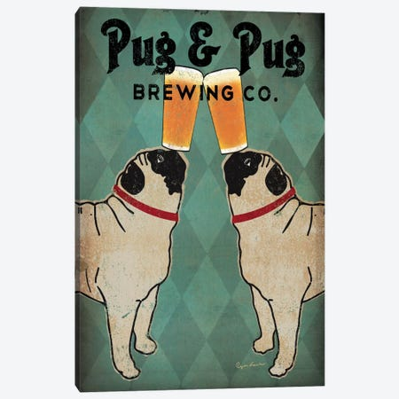 Pug & Pug Brewing Co. Canvas Print #WAC1130} by Ryan Fowler Canvas Print