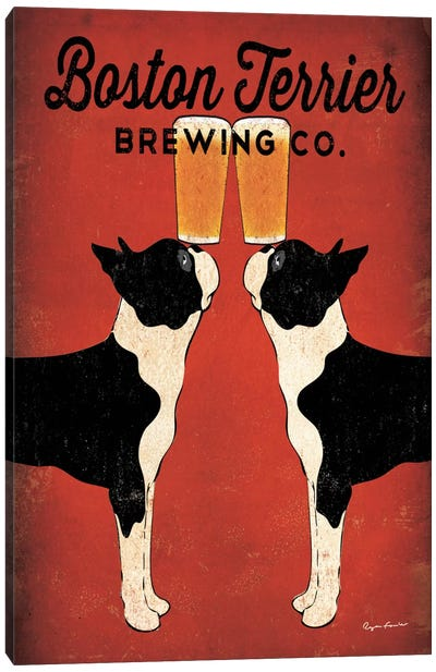 Boston Terrier Brewing Co.  Canvas Print #WAC1133