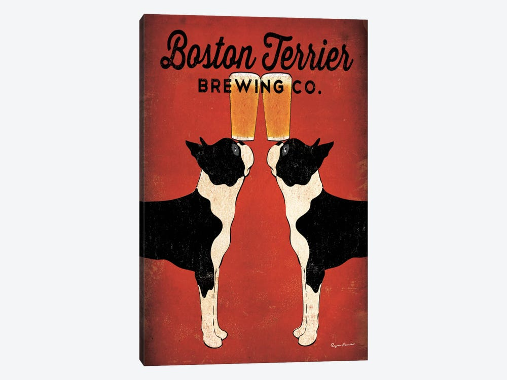 Boston Terrier Brewing Co.  by Ryan Fowler 1-piece Canvas Art Print