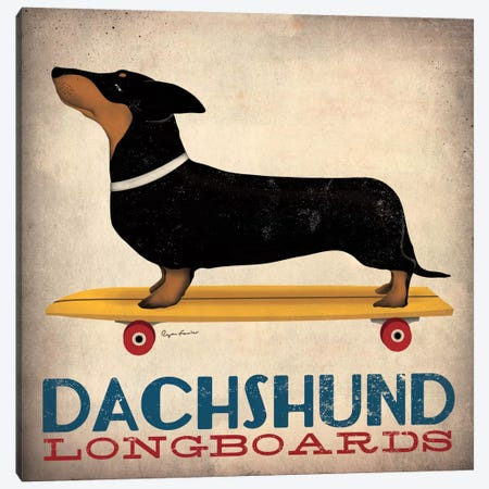 Dachshund Longboards Canvas Print #WAC1136} by Unknown Artist Canvas Artwork