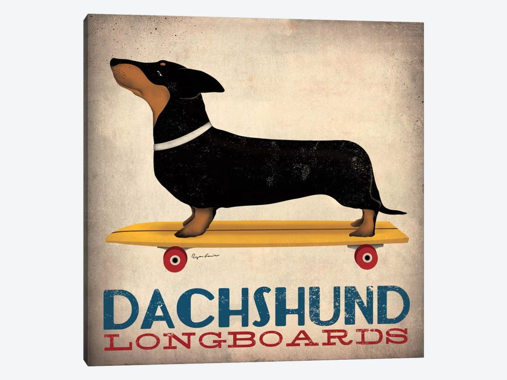 Dachshund Longboards 1-piece Canvas Artwork