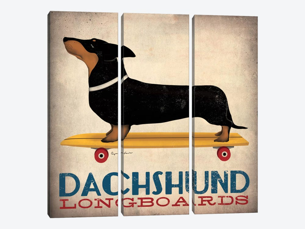 Dachshund Longboards 3-piece Canvas Art