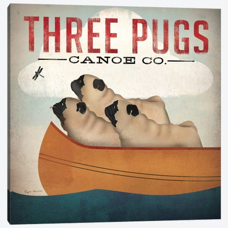 Three Pugs Canoe Co. Canvas Print #WAC1140} by Ryan Fowler Canvas Wall Art