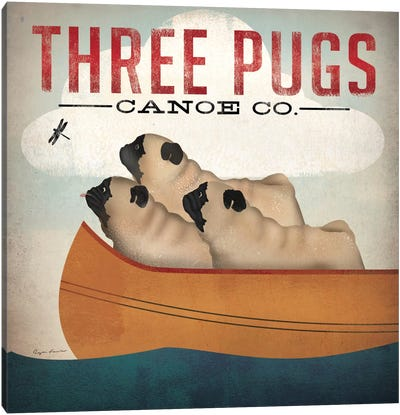 Three Pugs Canoe Co. Canvas Art Print