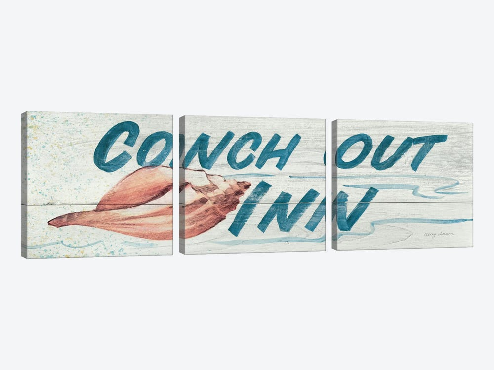 Conch Out Inn in Color by Avery Tillmon 3-piece Canvas Wall Art