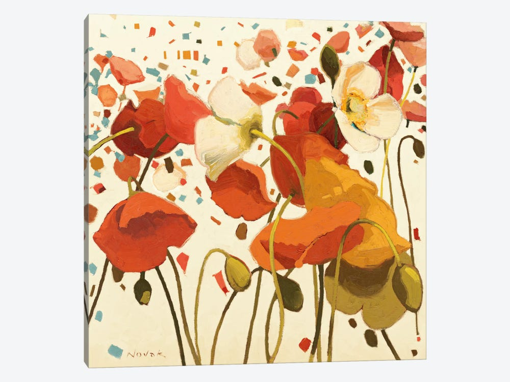 Coral Confetti by Shirley Novak 1-piece Canvas Art Print