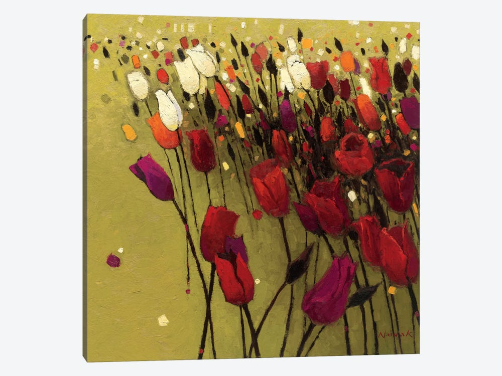 Tulip Drift Green  by Shirley Novak 1-piece Art Print