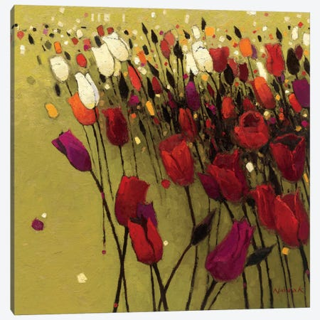 Tulip Drift Green  3-Piece Canvas #WAC1175} by Shirley Novak Canvas Art