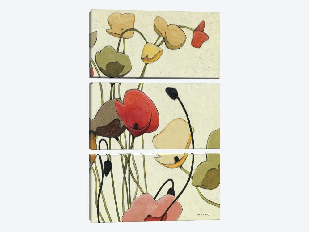 Pavots Ondule II by Shirley Novak 3-piece Canvas Art
