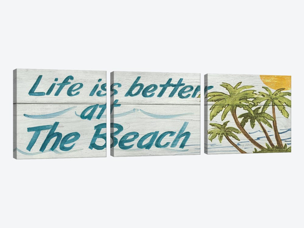 Life is Better at the Beach in Color by Avery Tillmon 3-piece Canvas Art Print