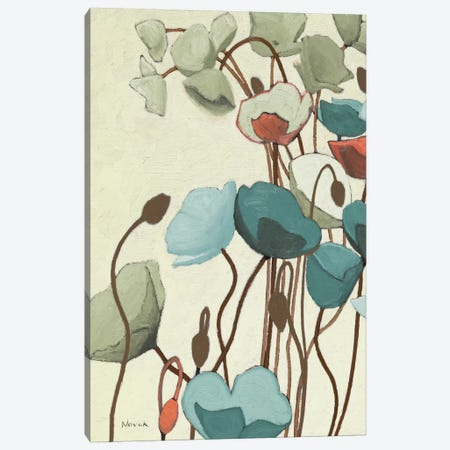 Blue Pavots Ondule I Canvas Print #WAC1181} by Shirley Novak Canvas Artwork