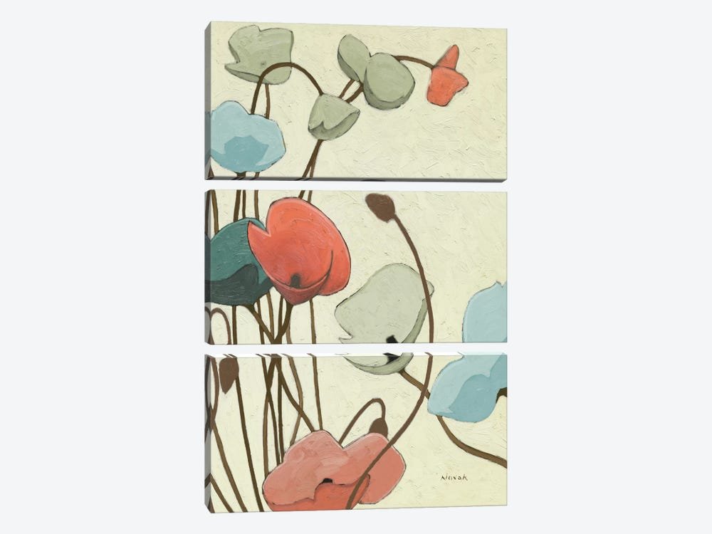 Blue Pavots Ondule II by Shirley Novak 3-piece Art Print