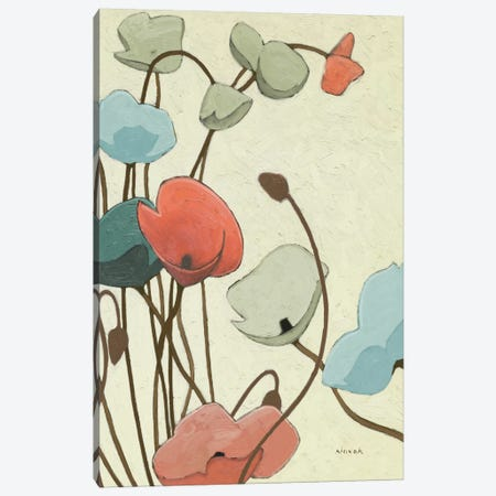 Blue Pavots Ondule II Canvas Print #WAC1182} by Shirley Novak Canvas Art