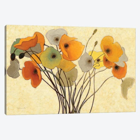 Pumpkin Poppies I Canvas Print #WAC1183} by Shirley Novak Canvas Wall Art