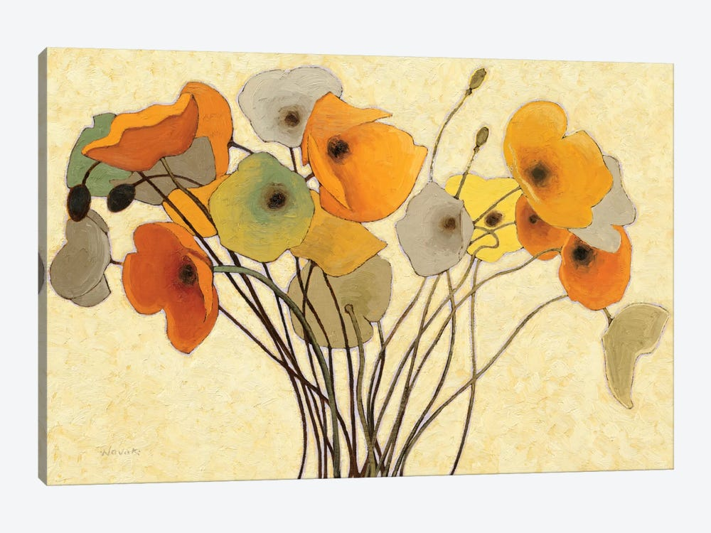 Pumpkin Poppies I by Shirley Novak 1-piece Canvas Art