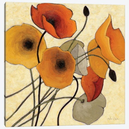 Pumpkin Poppies II Canvas Print #WAC1184} by Shirley Novak Canvas Art Print