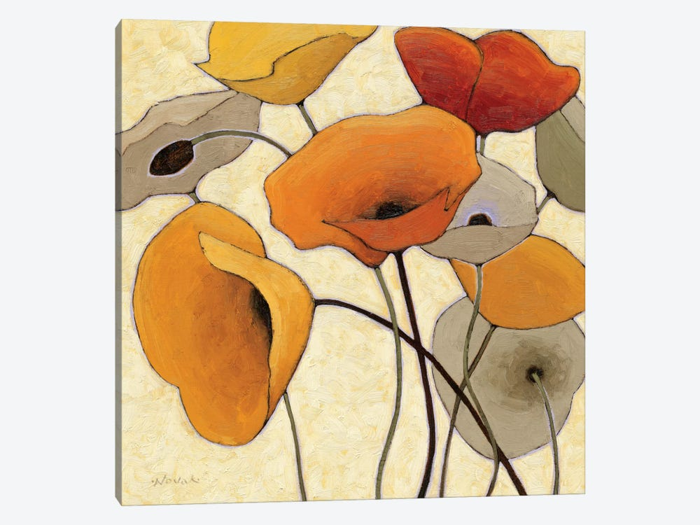 Pumpkin Poppies III by Shirley Novak 1-piece Canvas Art