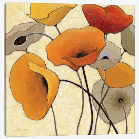 Pumpkin Poppies III 3-Piece Canvas #WAC1185} by Shirley Novak Canvas Print