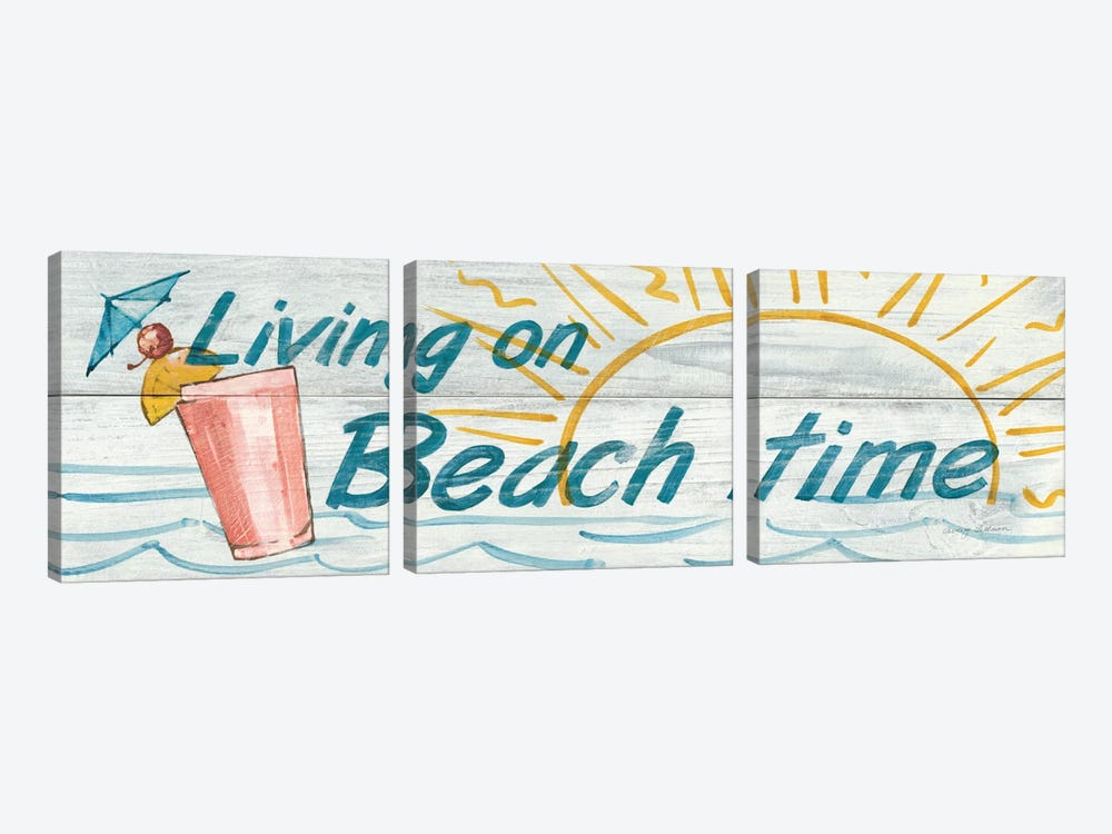 Living on Beach Time in Color by Avery Tillmon 3-piece Canvas Wall Art