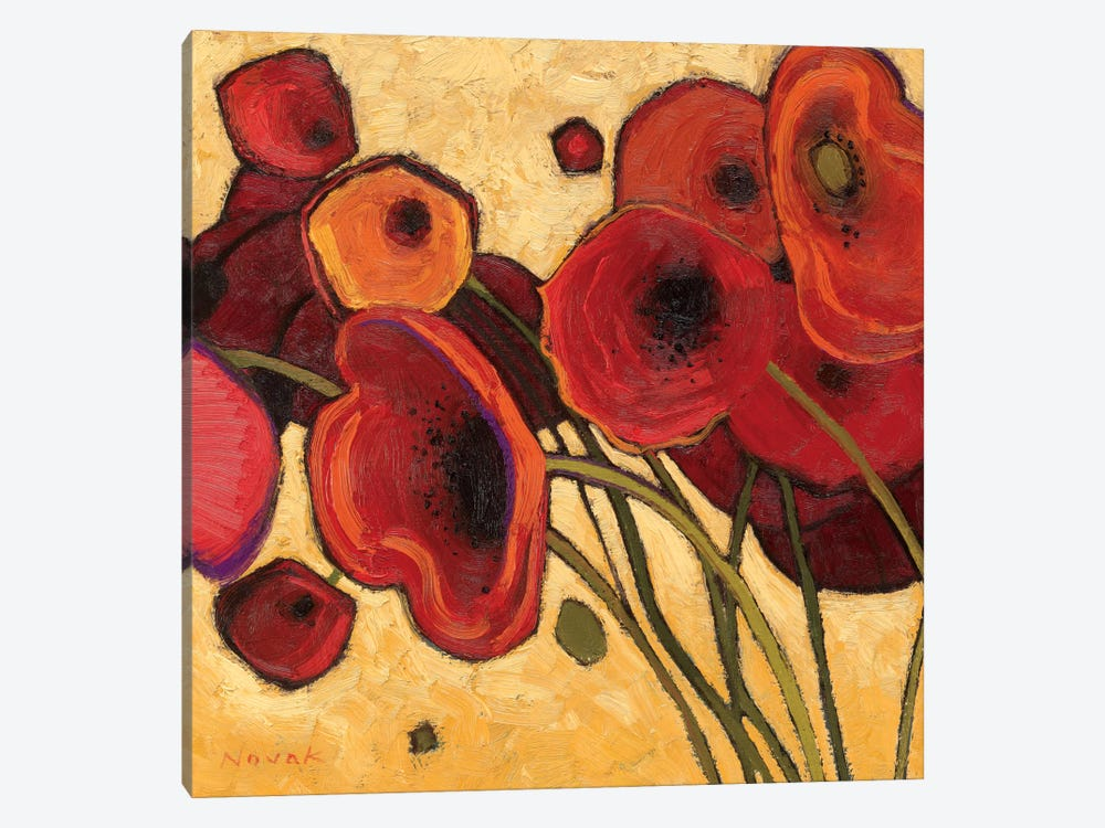 Poppies Wildly I  by Shirley Novak 1-piece Canvas Artwork