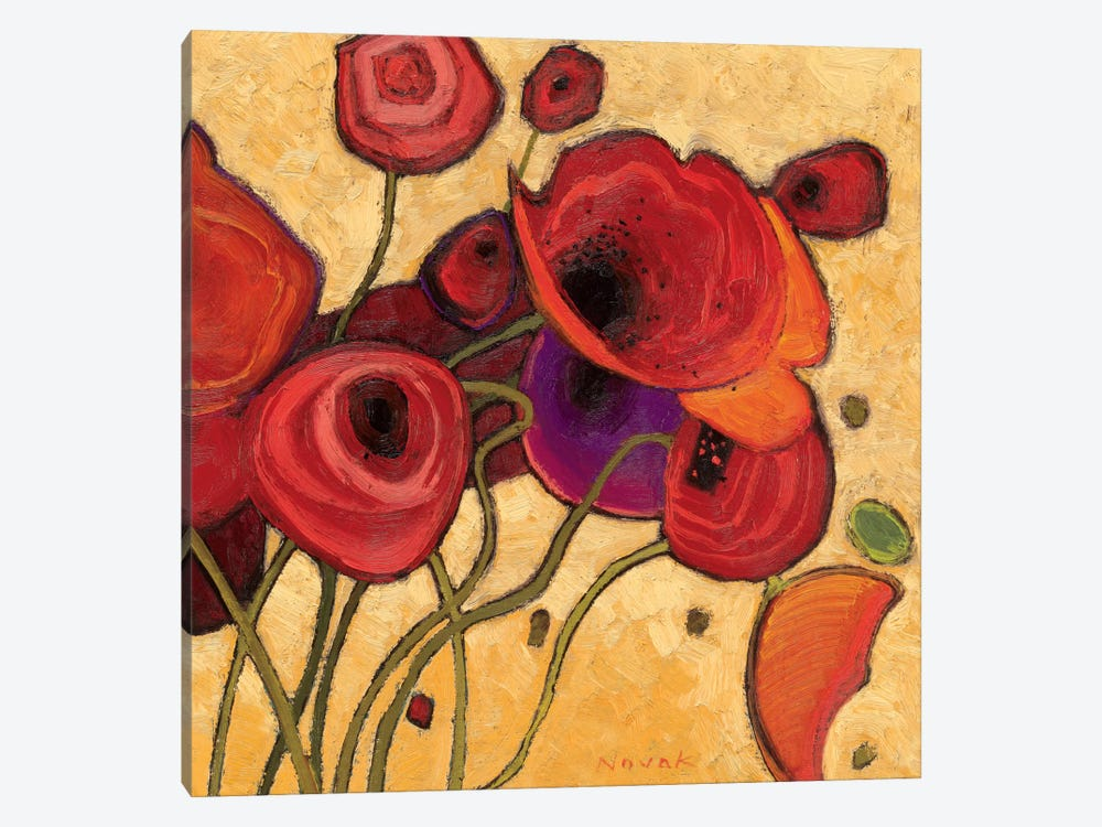 Poppies Wildly II  by Shirley Novak 1-piece Canvas Print