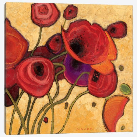 Poppies Wildly II  Canvas Print #WAC1197} by Shirley Novak Canvas Wall Art