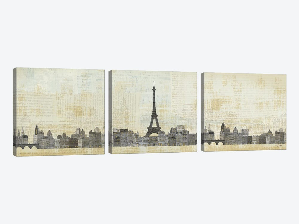 Eiffel Skyline  by Avery Tillmon 3-piece Canvas Print