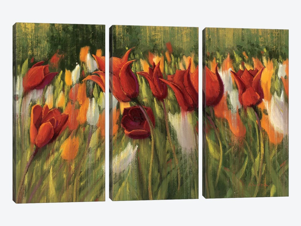 Tipsy Tulips 3-piece Canvas Print
