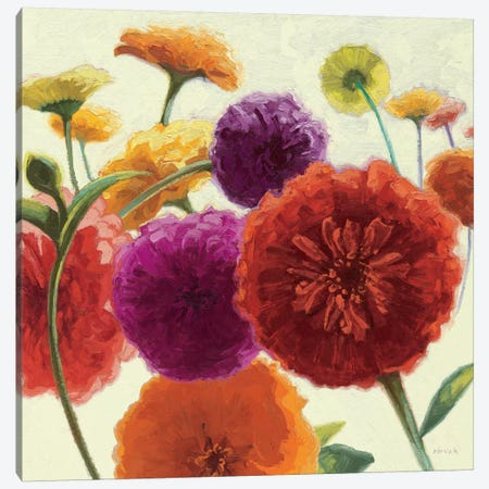 Pure Palette Zinnias  Canvas Print #WAC1205} by Shirley Novak Canvas Artwork