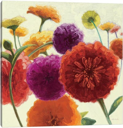 Pure Palette Zinnias Canvas Art Print