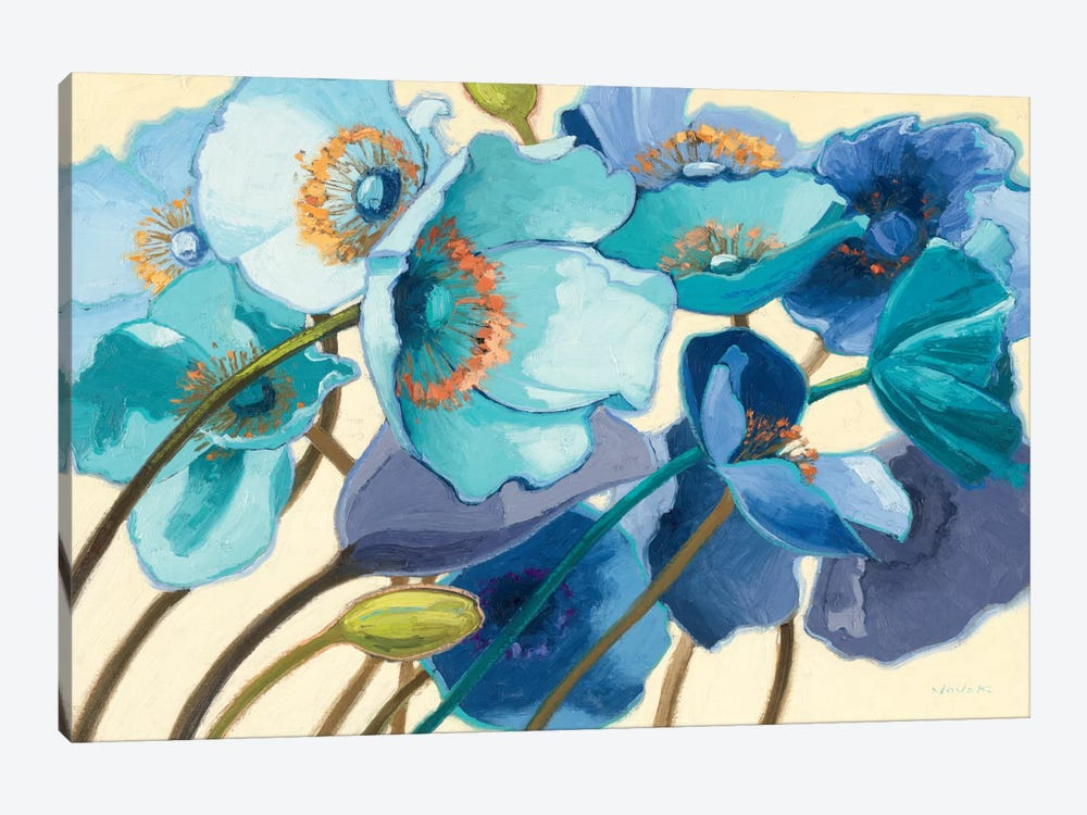 Le Pavots Bleu  by Shirley Novak 1-piece Canvas Art Print