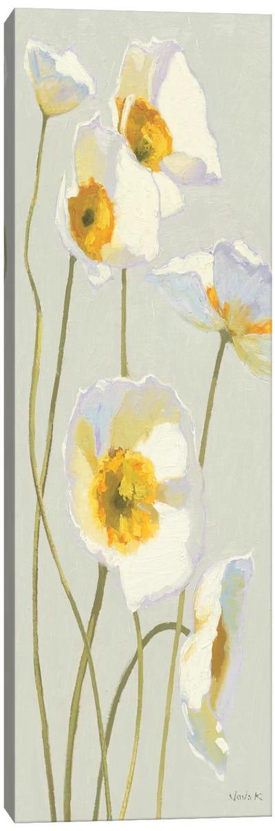 White on White Poppies Panel I   Canvas Print #WAC1224