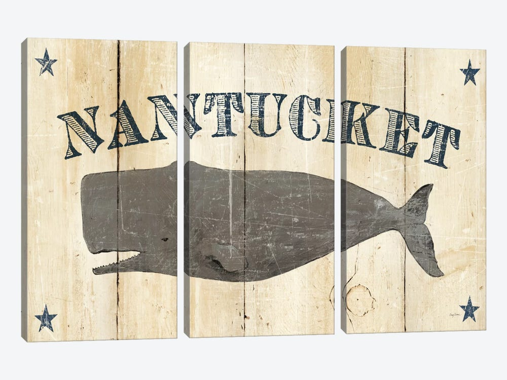 Nantucket Whale by Avery Tillmon 3-piece Canvas Print