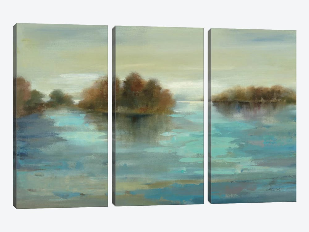 Serenity on the River by Silvia Vassileva 3-piece Canvas Print