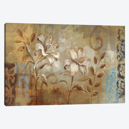Flowers on Silver I  Canvas Print #WAC1279} by Silvia Vassileva Canvas Art