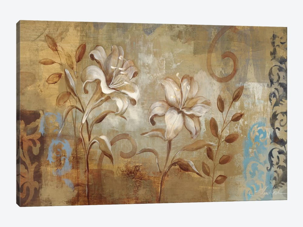 Flowers on Silver I  1-piece Canvas Art Print