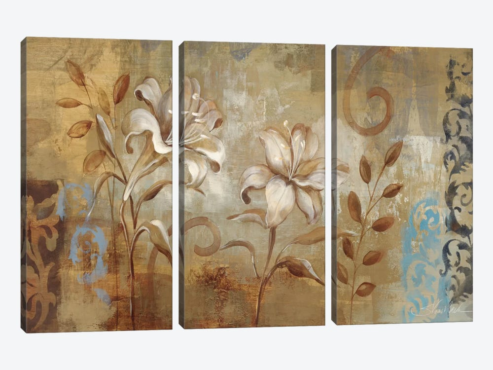 Flowers on Silver I 3-piece Canvas Art Print