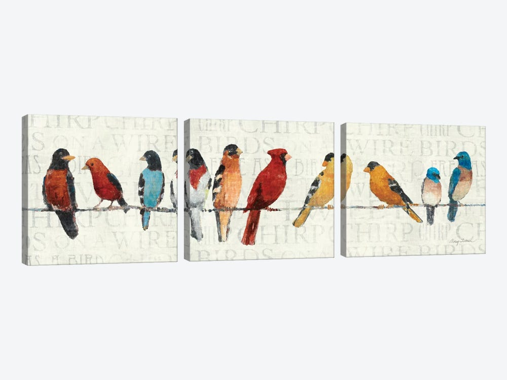 The Usual Suspects - Birds on a Wire by Avery Tillmon 3-piece Canvas Print