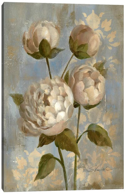 Peony on Soft Blue Canvas Art Print